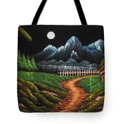 Night View With Full Moon Tote Bag