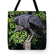 Black Vulture On A Fence Post Tote Bag