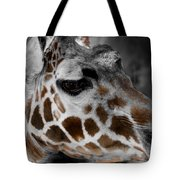 Black  White And Color Giraffe Tote Bag