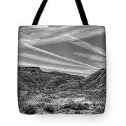Black White Chem Trails Sky Overton Nevada  Tote Bag