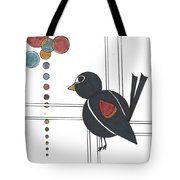 Blackbird With Circles Tote Bag