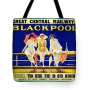 Blackpool, England - Retro Travel Advertising Poster - Three Fashionable Women - Vintage Poster -  Tote Bag