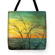 Blazing Sunrise And Grasses In Blue Tote Bag