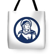 Blessed Virgin Mary Circle Retro Tote Bag