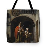 Blind Elderly With His Daughter Tote Bag