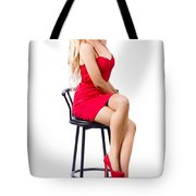 Blond Female Bistro Babe On Bar Stool In Red Dress Tote Bag