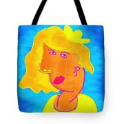 Blond Girl In A Yellow Hat Cubism Style Tote Bag