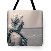 Blond Woman Looking To The Horizon. Tote Bag