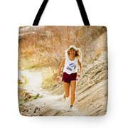 Blond Woman Trail Runner Tote Bag