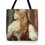 Blonde Girl Combing Her Hair Tote Bag by Pierre Auguste Renoir