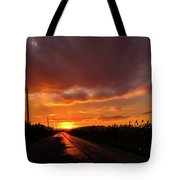 Blood And Gold In The Road Sunset At Portmahon Delaware Tote Bag