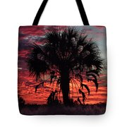 Blood Red Sunset Palm Tote Bag