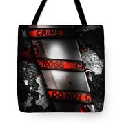 Bloody Knife Wrapped In Red Crime Scene Ribbon Tote Bag