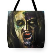 Bloody Zombie Nurse Screaming Out In Insanity Tote Bag