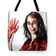 Bloody Zombie Woman With Severed Hand Tote Bag
