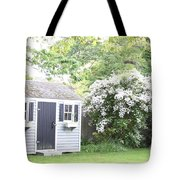 Blooming Tree Next To Shed Tote Bag