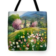 Blooming Tuscany Landscape Tote Bag