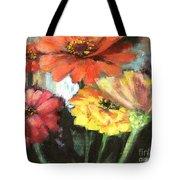 Blooming Zinnias Tote Bag