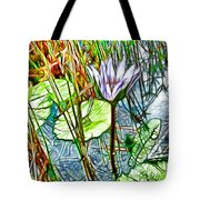 Blossom Lotus Flower In Pond Tote Bag