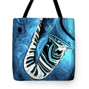 Piano Keys In A Saxophone Blue 2 - Music In Motion Tote Bag
