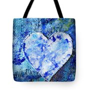 Blue Abstract Painting With Heart Tote Bag