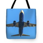 Blue Airplane Takeing Off Tote Bag