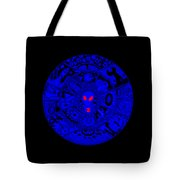 Blue Alien Mandala Tote Bag