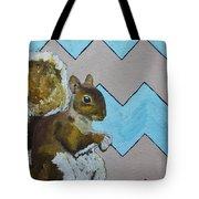 Blue And Beige Chevron Squirrel Tote Bag