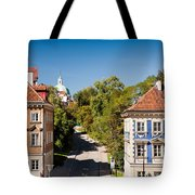 Blue And Brown Ornamental Walls Tote Bag
