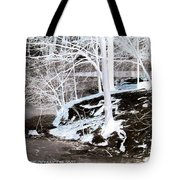 Blue And Brown Trees Tote Bag