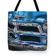 Blue And Chrome Chevy Pickup Front End Tote Bag