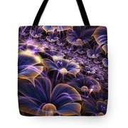Blue And Gold Fractal Flowers Tote Bag
