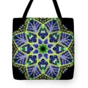 Blue And Green Flower Mandala Tote Bag