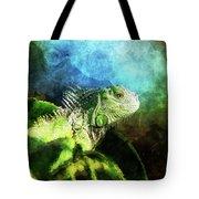Blue And Green Iguana Profile Tote Bag