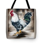 Blue And Green Rooster Tote Bag