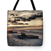 Blue And Orange Sunrise On The Beach Tote Bag