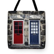 Blue And Red Doors Tote Bag