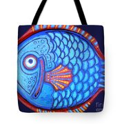 Blue And Red Fish Tote Bag