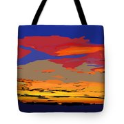 Blue And Red Ocean Sunset Tote Bag