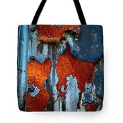 Blue And Rust Tote Bag