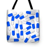 Blue And White Capsules Tote Bag