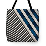 Blue And White Diagonals Tote Bag