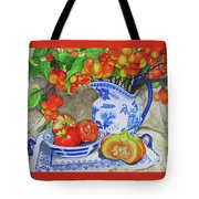 Blue And White Porcelain With Cherries Tote Bag