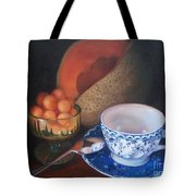 Blue And White Teacup And Melon Tote Bag
