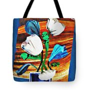 Blue And White Tulips Tote Bag