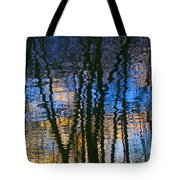 Blue And Yellow Abstract Reflections Tote Bag