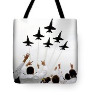 Blue Angels Fly Over The Usna Graduation Ceremony Tote Bag
