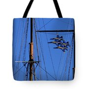 Blue Angels Pass Behind Masts Of The Balclutha At Hyde Street Pier Tote Bag