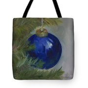 Blue Ball On Christmas Tree Tote Bag