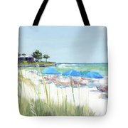 Blue Beach Umbrellas On Point Of Rocks, Crescent Beach, Siesta Key Wide-narrow Tote Bag